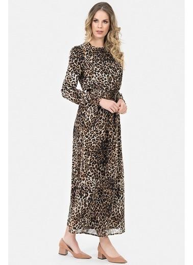 İroni Leopar Desenli Uzun Elbise Leopar